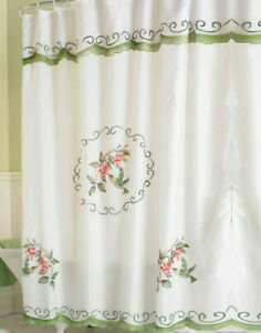 Hummingbird Shower Curtain Floral Flower Bird Fabric Spring Bath Decor