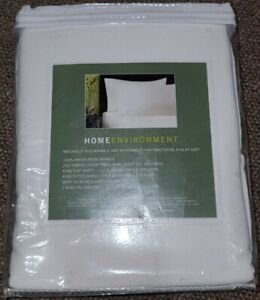 HOME ENVIRONMENT 100% RAYON FROM BAMBOO King SHEET SET White new
