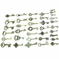 40 Pack Vintage Skeleton Keys Charms in Antique Bronze Color for Jewelry M Z4U7