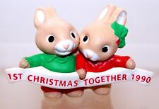 1990 Hallmark New 1st Christmas Together Bunnies Merry Miniature Unused Qfm1686