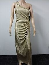 NEW to AUS - Betsy & Adam - Beaded Formal Evening Dress Size 6 - Metal Gold $219