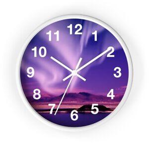 Wall clock Northern Lights / Aurora Borealis Blue Pink Purple White