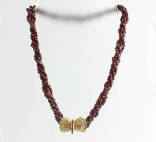 Vintage .35cts Round Ruby 14k Clasp Faceted Ruby Bead 4 Strand 16 inch Necklace