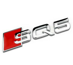 Audi SQ5 Q5 Logo Badge Chrome Silver Emblem 3D Trunk Logo Sticker Badge NEW