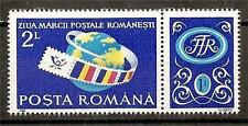 Romania 1990 Stamp Day Map World Flags Sc # 3625A Mnh