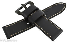 Genuine Techno Master 25mm Black Leather Watch Band Strap