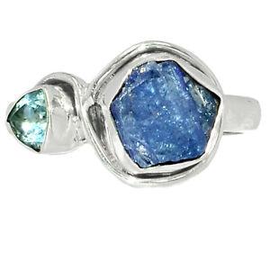 Tanzanite Crystal - Tanzania & Blue Topaz 925 Silver Ring Jewelry s.9.5 BR46867