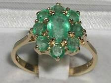 375 9CT SOLID GOLD GENUINE NATURAL EMERALD CLUSTER RING