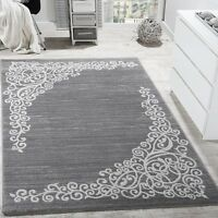 Silver Grey Rug Living Room Glitter Floral Pattern Rugs Carpets Mats Small Large