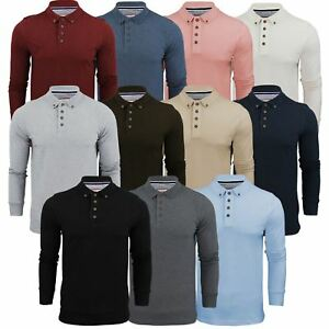 Mens Polo T Shirt Brave Soul Lincoln Long Sleeve Cotton Pique Casual Top