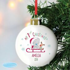 Personalised Tiny Tatty Teddy My 1st Christmas Sleigh Bauble Babies First Xmas