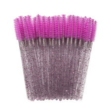 20x Disposable Rosered Eyelash Makeup Brush Crystal Purple Handle Mascara Wands
