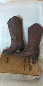 Wrangler  Brown Leather Cowboy Western Boots UK 6.5 /EU 40 WIDE FIT Made USA VGC