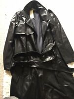 Shiny wet look glanz EMO  sport Goth Pu S Trench Vinyl