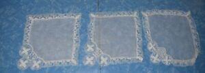 8224  3  beautiful  vintage Tenerife lace hankies/doilies