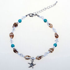 Barefoot Beach Crystal Starfish Ankle Ankle Chain Shell Blue Stones Sea Shell