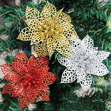 "2/10 pcs 6"" Christmas Hollow Flowers Glitter Xmas Tree Wedding Party Home Decor*"