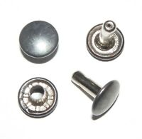 BLACK RIVETS 9MM DIAMETER X 9MM STEMS DOUBLE CAP LEATHERCRAFT