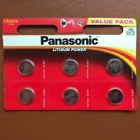 6 x Panasonic CR2016 3V Lithium Coin Cell Battery 2016