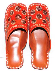 INDIAN HANDMADE LEATHER KHUSSA SHOES THONGS MOJARIS SANDAL SLIPPER FOR WOMENS