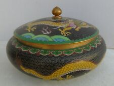 Vintage Chinese Cloisonne Round Box Jar w/ Lid Black w/ Yellow Dragon 6 3/4""