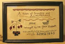 Reproduction framed needlework sampler
