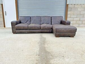 Art Deco Style Cigar Saddle Brown Leather Chesterfield Right Hand Corner Sofa