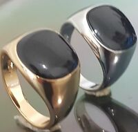 18ct Gold Filled Black Onyx Mens Signet Wedding Band Pinky Ring Size 6 TO 13