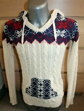 Womens SUPERDRY Japan Jacket Hoodie Sweatshirt Beige/Red Outdoor Cotton Size S