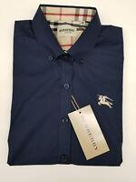 Men's Navy Burberry Shirt Size 2XL, Mens Button up Navy Blue Burberry Shirt 2XL