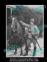 OLD LARGE HISTORIC PHOTO OF AUSTRALIAN BOER WAR OFFICER TOM PRICE c1900