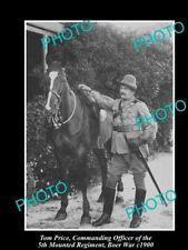 OLD LARGE HISTORIC PHOTO OF AUSTRALIAN BOER WAR OFFICER, TOM PRICE c1900