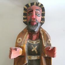 "16"" FOLK ART GUATEMALA SANTOS w/ HALO FIGURE, HAND CARVED & PAINTED WOOD STATUE"