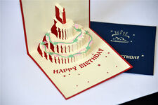 Handmade 3D Pop Up Happy Birthday Cake with Candle Card