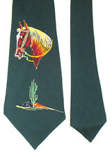 "Vintage Western Painted Horse Desert Cactus Neck Tie Green  4.5"" Wide Vibrant"