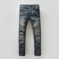 New Pop Fashion Patchwork Mens Frayed Denim Pants Travel Jeans Motor Biker Jeans