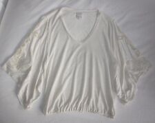 $140 NEW ELLA MOSS Ivory Linen Lace Cut-Outs Kimono-Slv Top YOOX Hippie-Chic XS