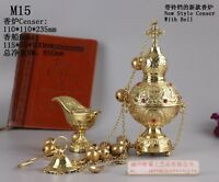 Brass Censer Incense Burner with Bell and Boat for Church M15