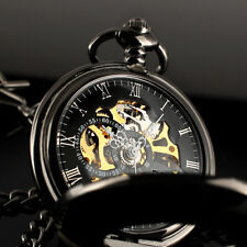 ESS Mechanical Skeleton Steampunk Pocket Watch Black Vintage Chain Mens Wind Up