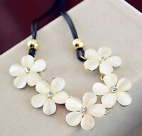 Damen Blume Halskette Perlen Kette Statement Choker Schmuck Collier Blogger Mode