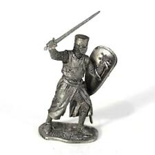 """Tin toy soldier """"Mounted knight, 12th cent."""" metal sculpture 1/32 (54mm) #M98"""
