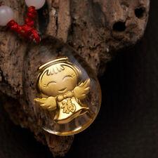 Lucky Angel Halskette Gelbgold plattiert Kristall Segen Anhänger Halskette