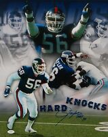 Lawrence Taylor Autographed Giants 16x20 Hard Knocks Photo W/ HOF and JSA W Auth