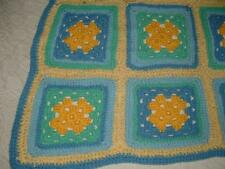 "HANDMADE CROCHET AFGHAN BABY BLANKET NEWBORN 38""X 24""BLUES& YELLOW SWEET"