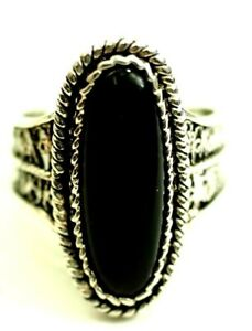 Vintage Ladies Black Onyx Marquise Cabochon Ring Sterling Silver size 9