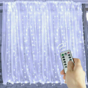 300 LED Fairy String Lights Curtain Window Twinkle Xmas Party Wedding Home Decor