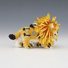 NATIVE AMERICAN ZUNI BEADED LION BY DENISE & FARON GCHACHU