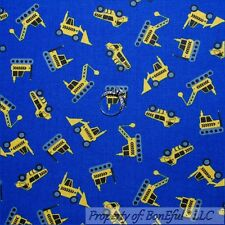 BonEful Fabric Cotton Quilt Blue Yellow Dot Construction Tractor Truck Boy SCRAP
