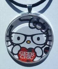 """Hello Kitty """" GEEK CHIC"""" Glass pendant with leather necklace!"""