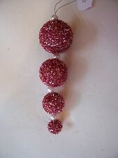 PINK TINSEL & WHITE PEARL HANGING CHRISTMAS ORNAMENT HOLIDAY DECORATION